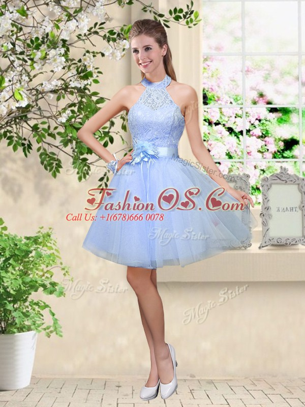 Lavender Halter Top Neckline Lace and Belt Damas Dress Sleeveless Lace Up