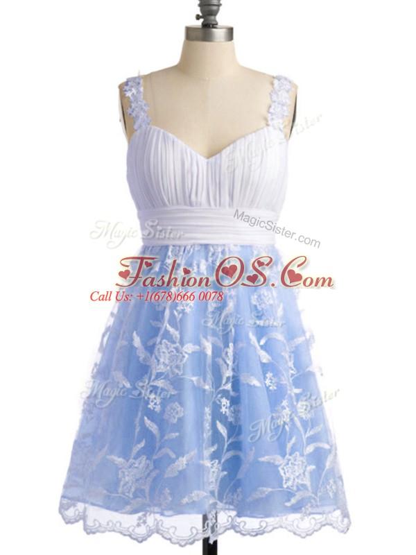 Knee Length Light Blue Vestidos de Damas Straps Sleeveless Lace Up