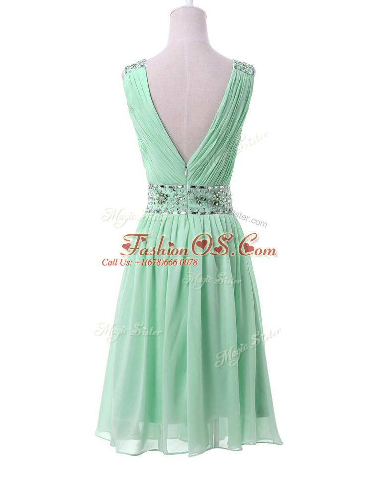 Fabulous Apple Green Chiffon Zipper V-neck Sleeveless Knee Length Wedding Guest Dresses Beading and Ruching