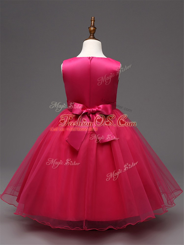 Dazzling Red Zipper Scoop Sequins and Bowknot Kids Formal Wear Tulle Sleeveless