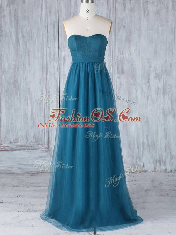Unique Floor Length Teal Bridesmaid Dress Tulle Sleeveless Appliques