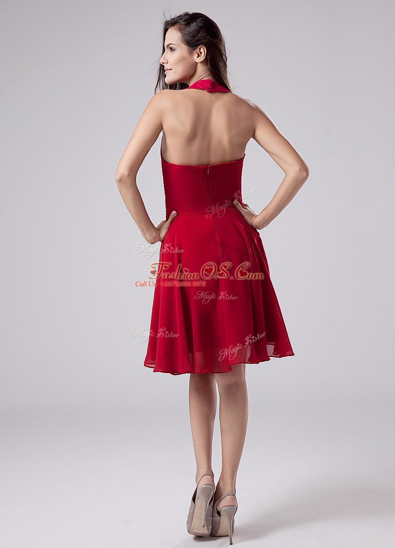 Halter Top Short Sleeves Chiffon Mother Of The Bride Dress Ruching Zipper