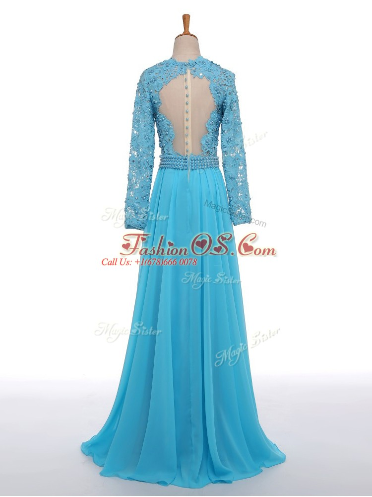 Edgy V-neck Long Sleeves Mother Of The Bride Dress Floor Length Lace Baby Blue Chiffon