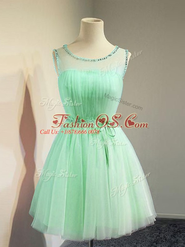 Knee Length Apple Green Wedding Guest Dresses Tulle Sleeveless Belt