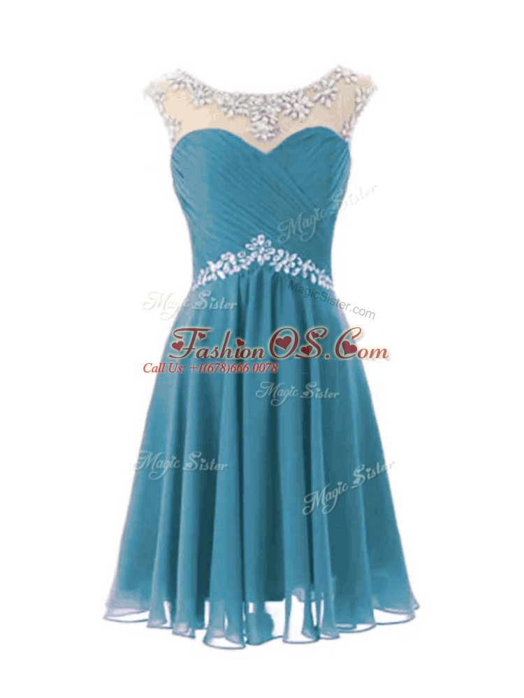Knee Length Zipper Teal for Prom and Party with Beading
