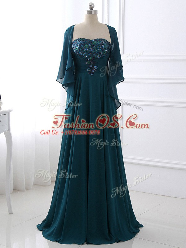 Sophisticated Chiffon Sweetheart Sleeveless Zipper Sequins and Ruching Mother Of The Bride Dress in Teal