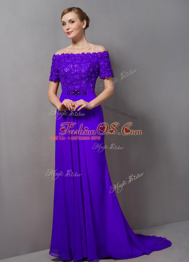 Off The Shoulder Short Sleeves Mother Of The Bride Dress Sweep Train Lace Purple Chiffon