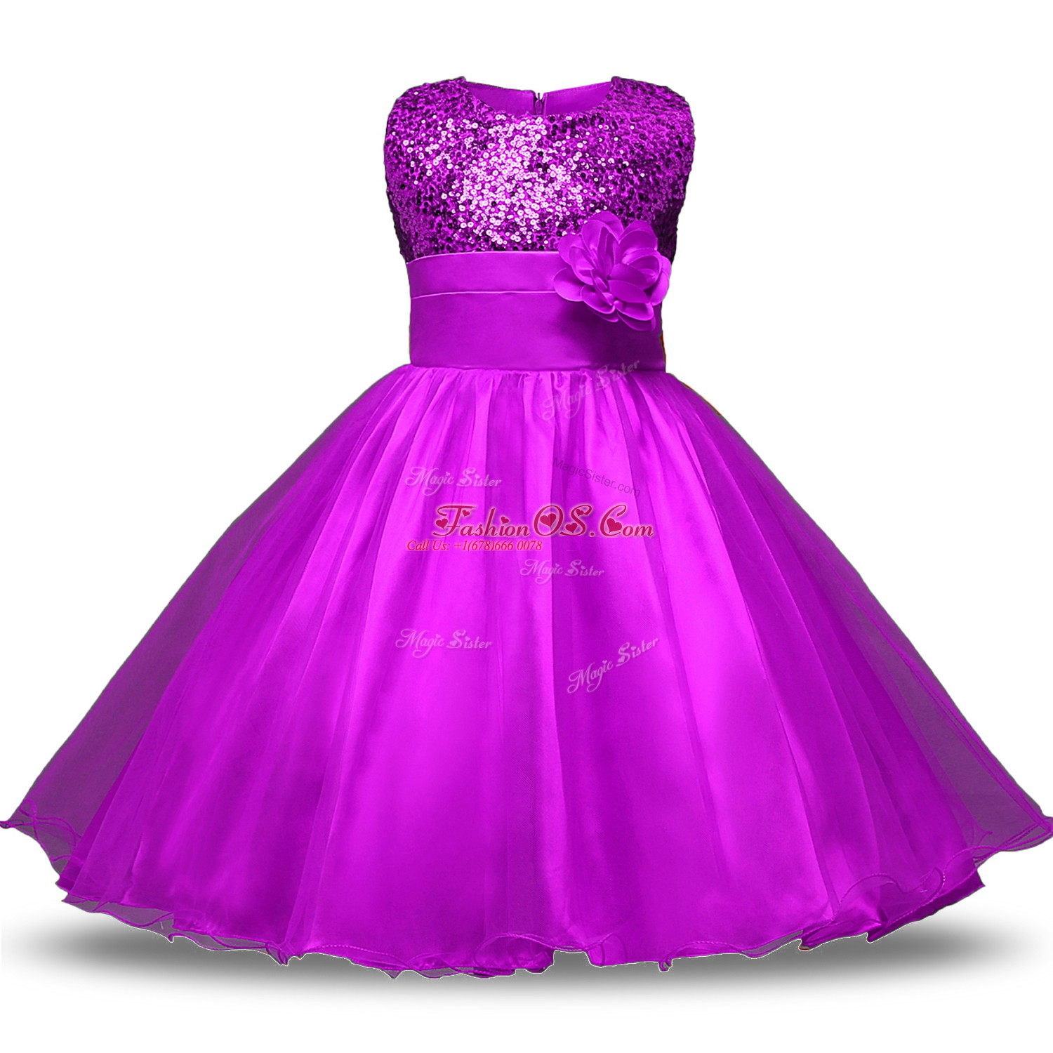 Knee Length Ball Gowns Sleeveless Purple Toddler Flower Girl Dress Zipper