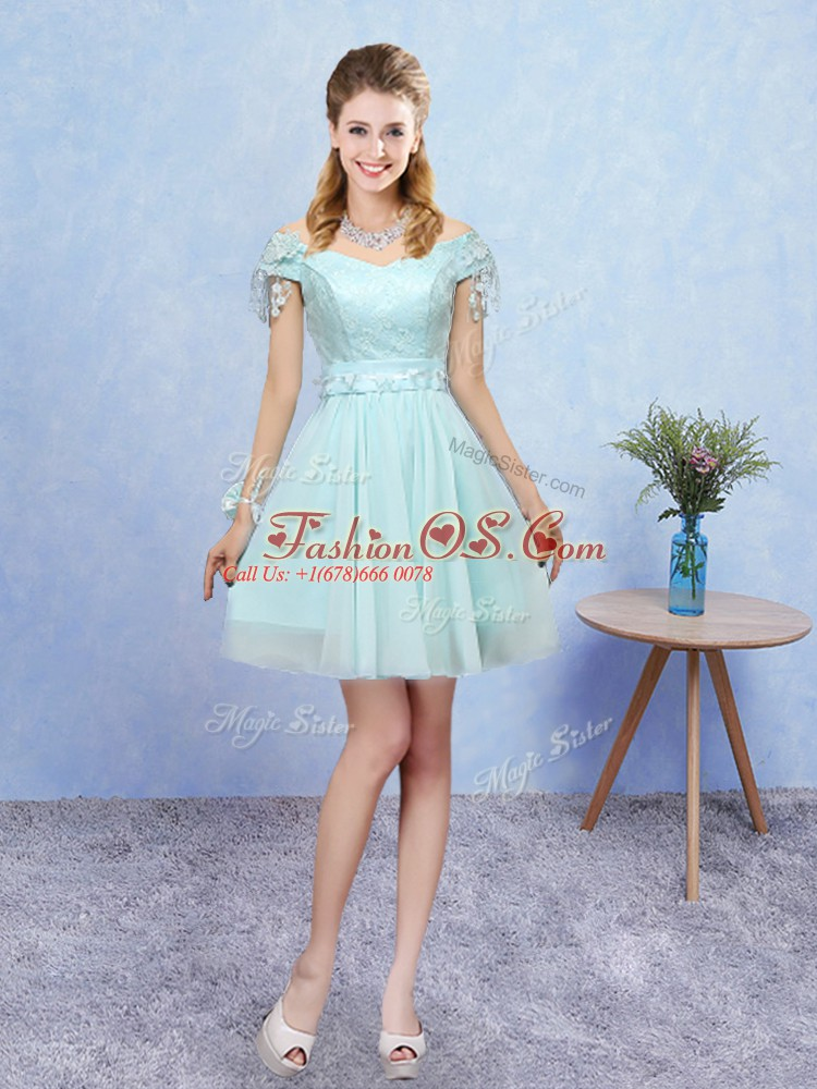 Mini Length Lace Up Quinceanera Court of Honor Dress Aqua Blue for Prom and Party with Lace