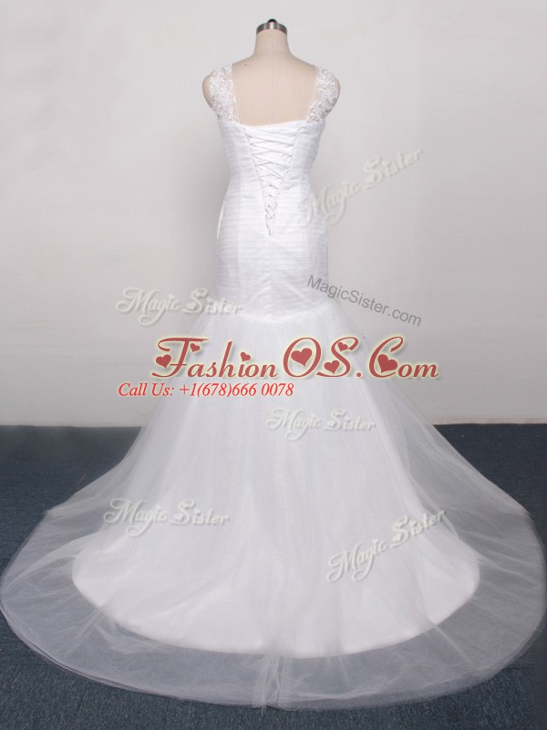 White Tulle Lace Up Scoop Sleeveless Wedding Gown Brush Train Lace and Appliques and Ruching