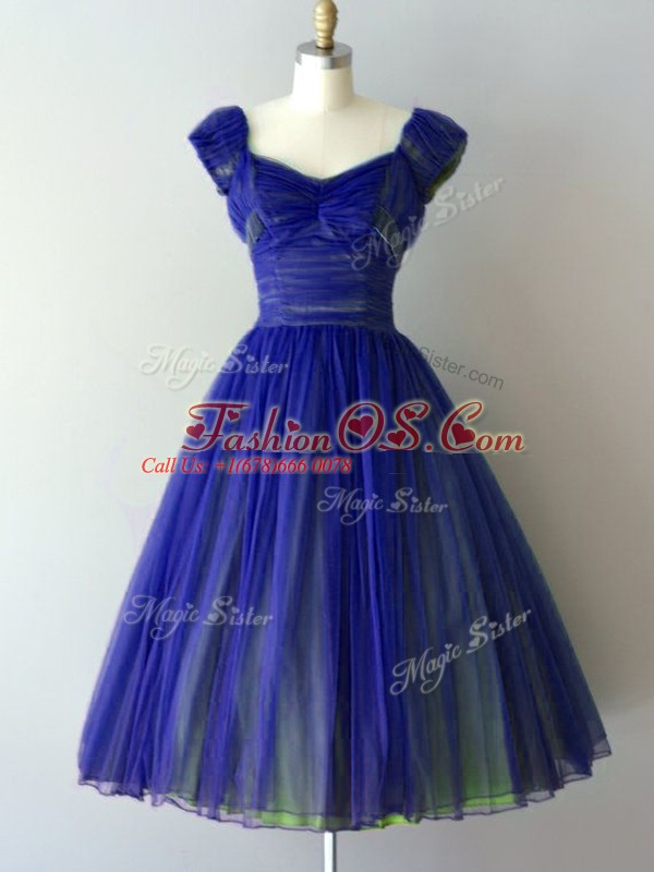 Luxury V-neck Cap Sleeves Lace Up Quinceanera Court of Honor Dress Royal Blue Chiffon