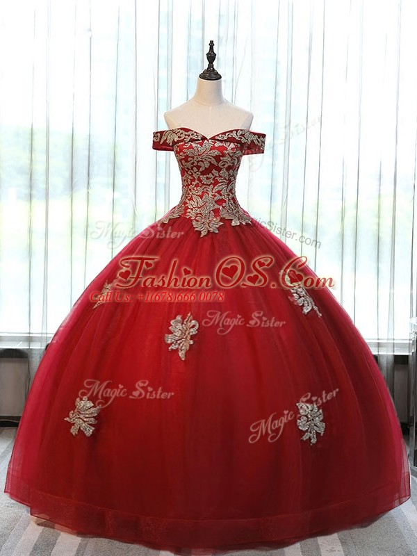 Glorious Wine Red Ball Gowns Beading and Appliques Quinceanera Gowns Lace Up Tulle Sleeveless Floor Length
