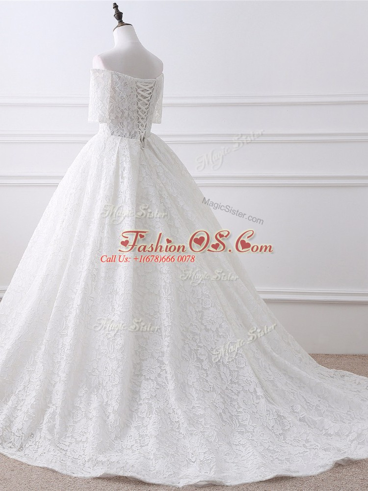 Affordable White Lace Up Bridal Gown Lace and Appliques Half Sleeves Brush Train