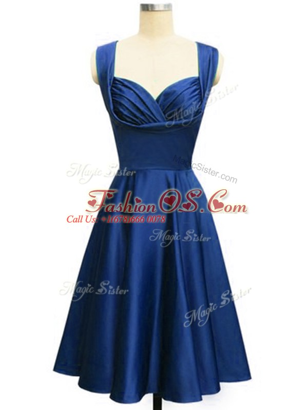 Delicate Knee Length Empire Sleeveless Royal Blue Damas Dress Lace Up
