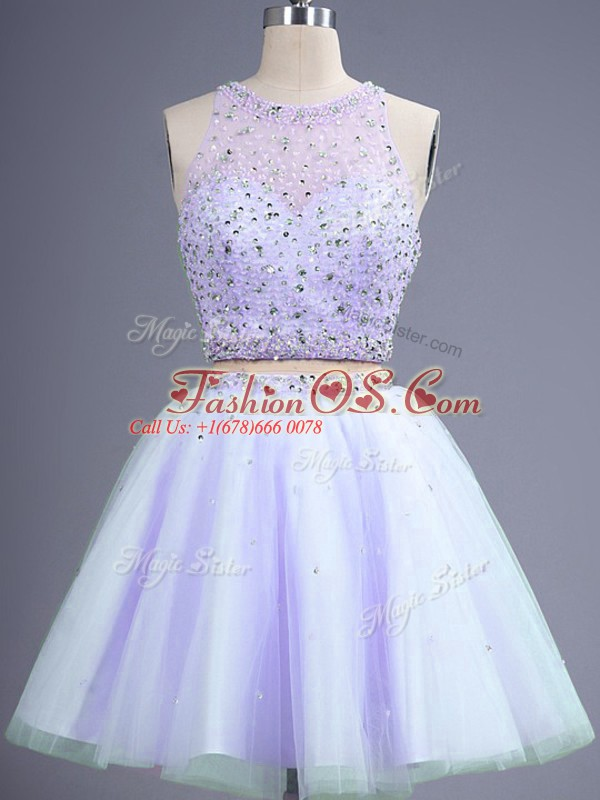 Chic Lavender Tulle Lace Up Bridesmaid Gown Sleeveless Knee Length Beading
