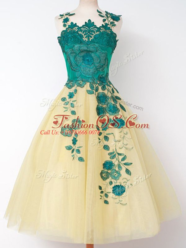 Most Popular Sleeveless Lace Up Knee Length Appliques Quinceanera Court Dresses