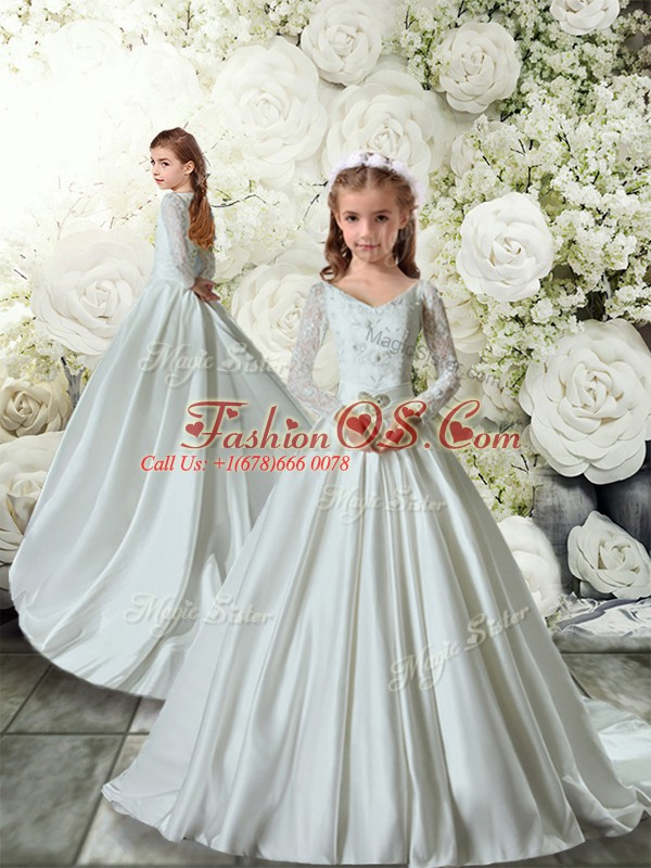Lovely White Long Sleeves Lace Clasp Handle Flower Girl Dresses for Less
