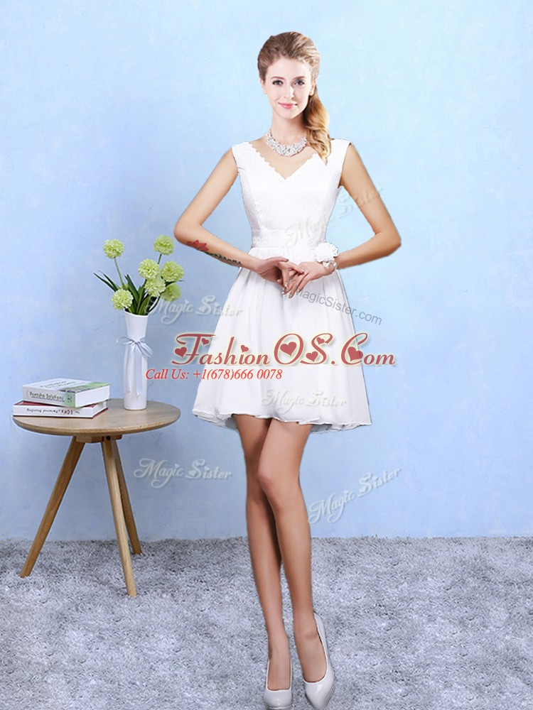 On Sale White A-line Chiffon V-neck Sleeveless Lace Mini Length Lace Up Bridesmaid Gown