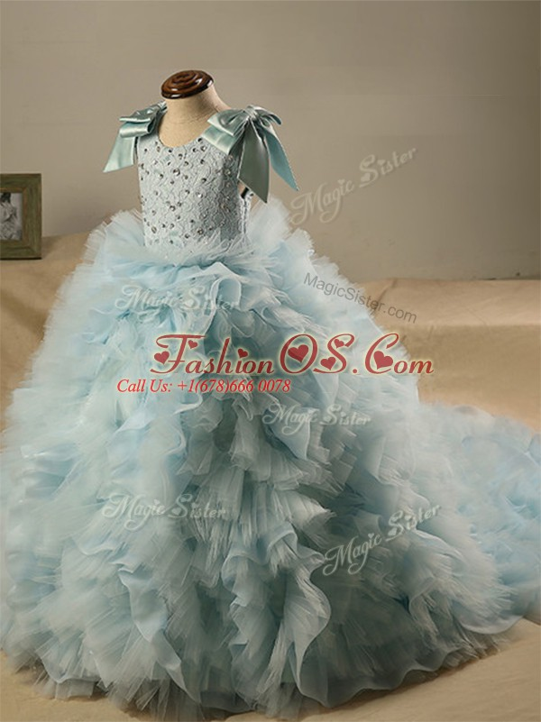 Admirable Light Blue Pageant Gowns For Girls Tulle Brush Train Sleeveless Beading and Ruffles and Bowknot