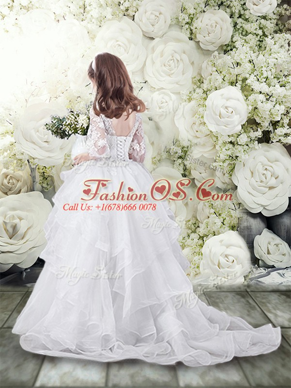 Modern White Tulle Lace Up Flower Girl Dresses for Less Half Sleeves Brush Train Lace and Ruffles