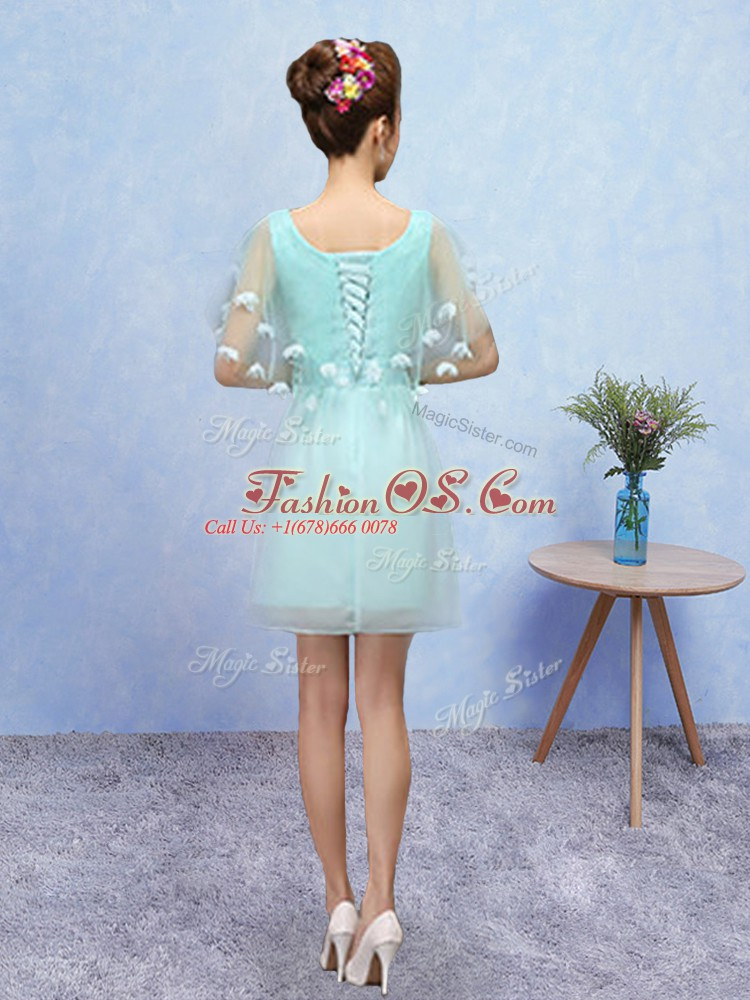 Romantic Aqua Blue Tulle Lace Up Scoop Sleeveless Mini Length Quinceanera Court of Honor Dress Appliques