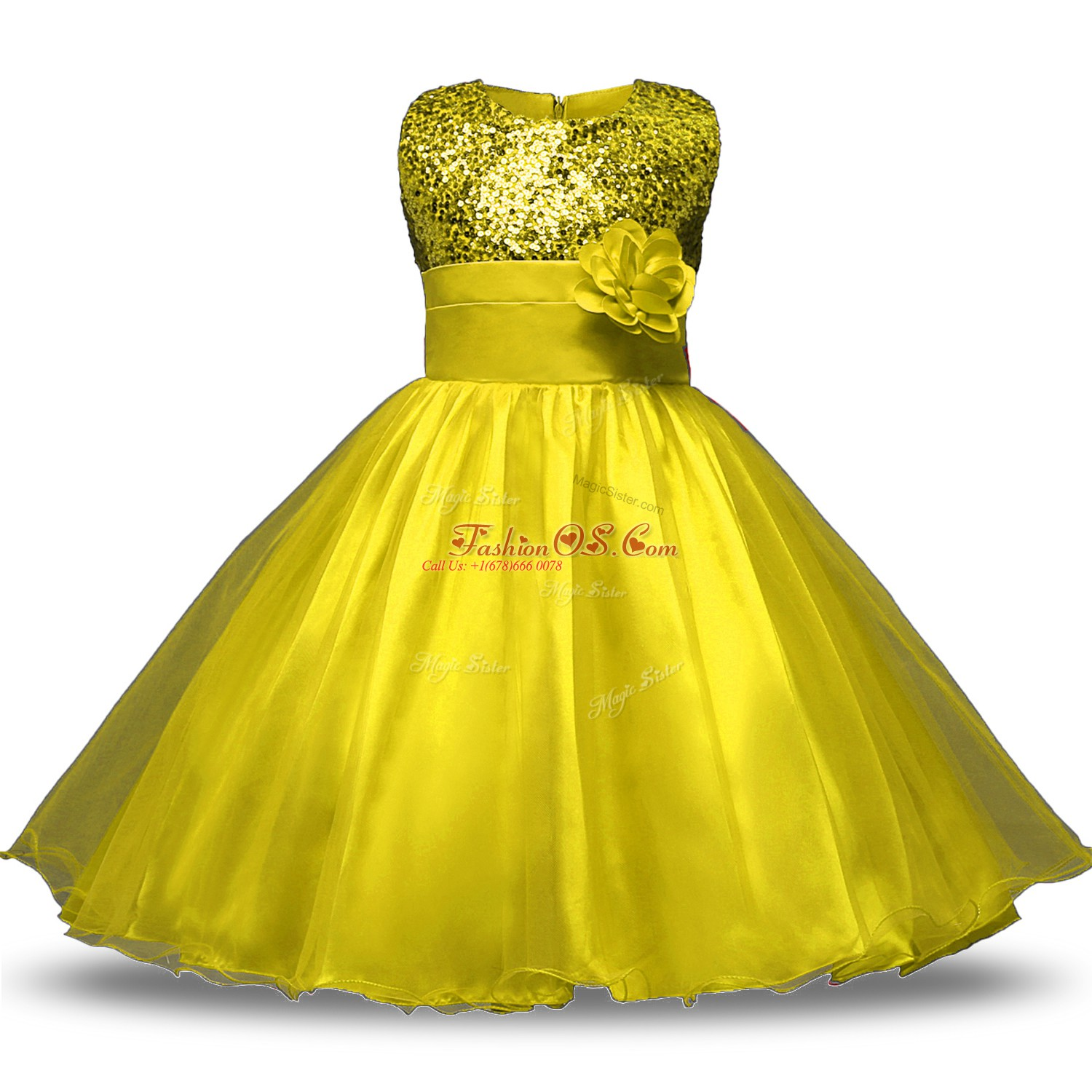 Noble Yellow Sleeveless Knee Length Bowknot and Belt and Hand Made Flower Zipper Flower Girl Dress