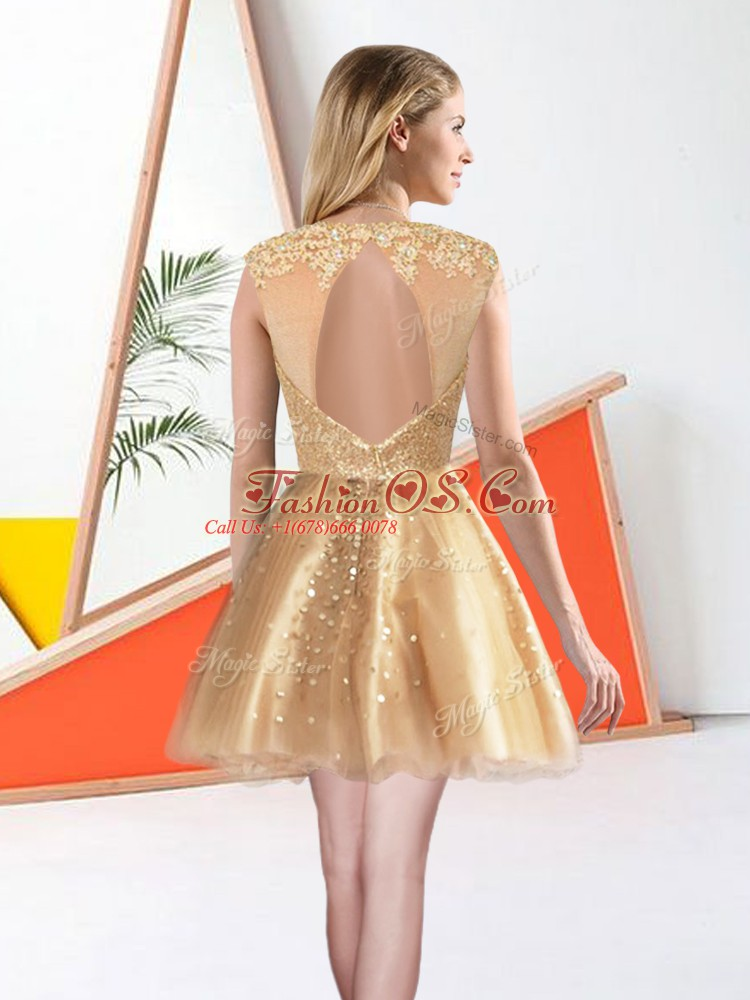 Cheap Champagne Sleeveless Knee Length Beading and Lace Backless Quinceanera Dama Dress