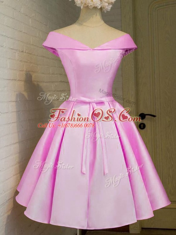 Enchanting Knee Length Lilac Wedding Party Dress Off The Shoulder Cap Sleeves Lace Up