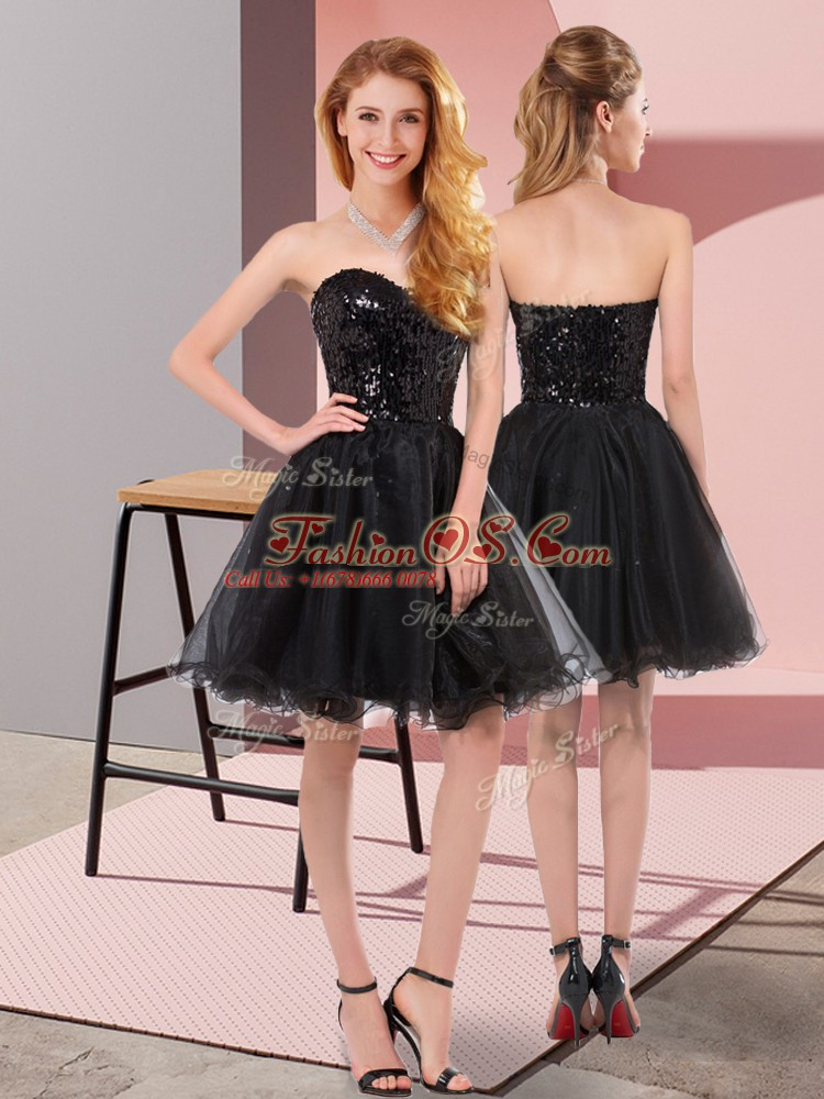 Black Zipper Prom Gown Sequins Sleeveless Mini Length