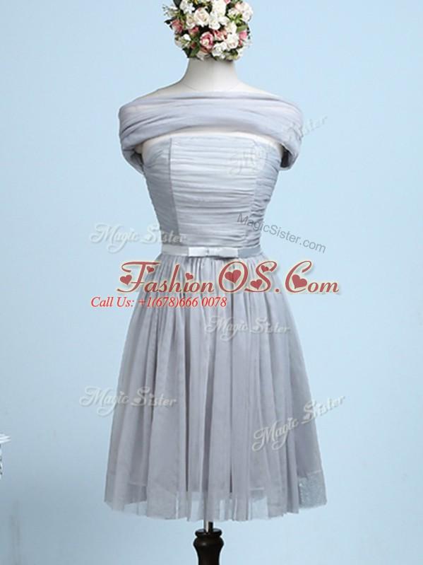 Grey Sleeveless Belt Mini Length Court Dresses for Sweet 16