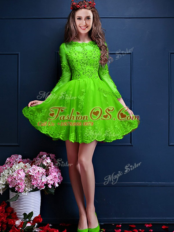 Traditional Chiffon Scalloped 3 4 Length Sleeve Lace Up Beading and Lace and Appliques Wedding Guest Dresses in Green