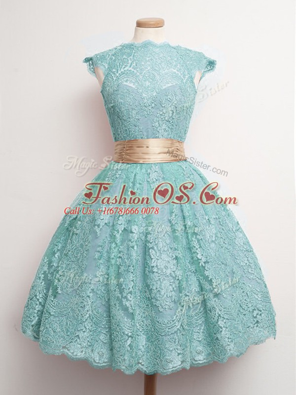 Dynamic High-neck Cap Sleeves Wedding Party Dress Knee Length Belt Aqua Blue Lace
