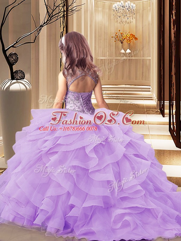 Lace Up Kids Pageant Dress Peach for Party and Wedding Party with Beading and Ruffles Brush Train