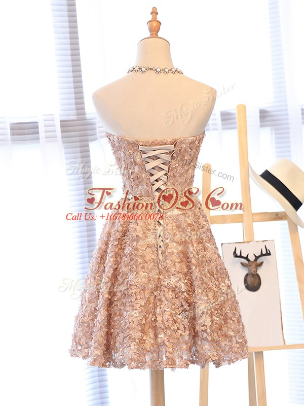 Popular Belt Prom Evening Gown Champagne Lace Up Sleeveless Mini Length