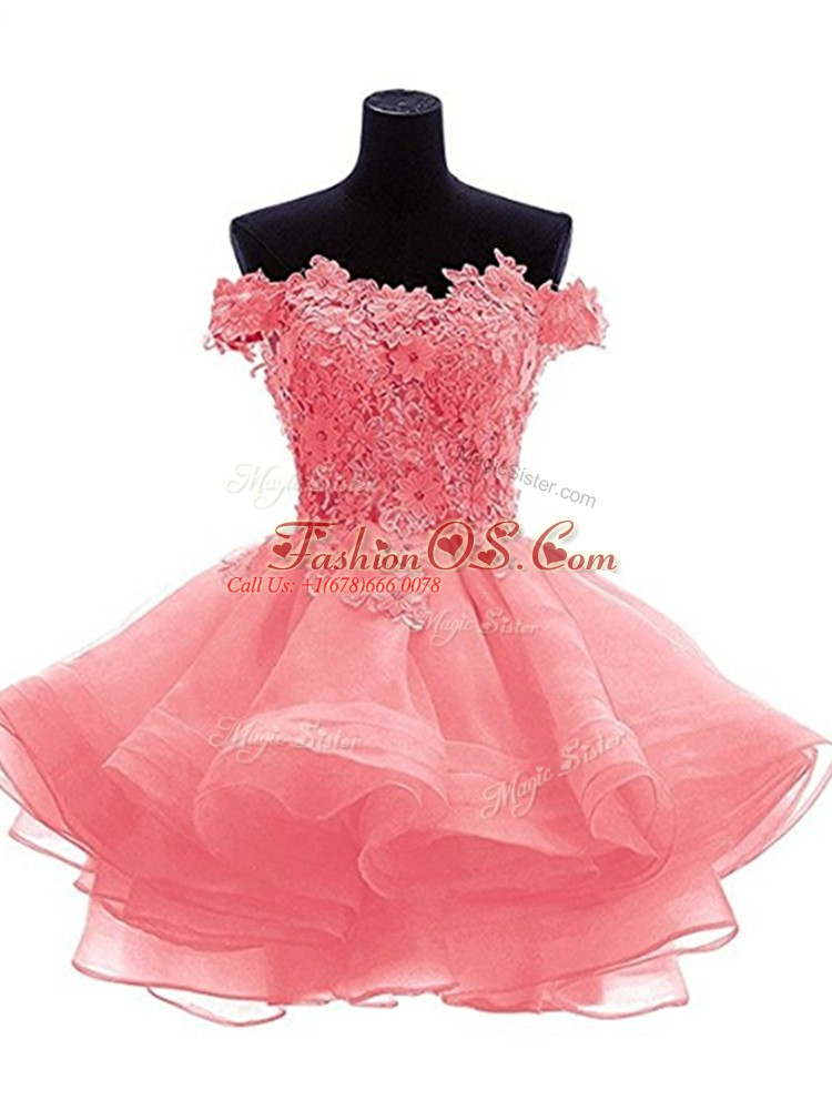 High Class Organza Sleeveless Mini Length Prom Gown and Beading and Lace and Appliques