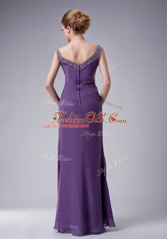 Classical Navy Blue Chiffon Zipper Straps Sleeveless Floor Length Mother Of The Bride Dress Beading