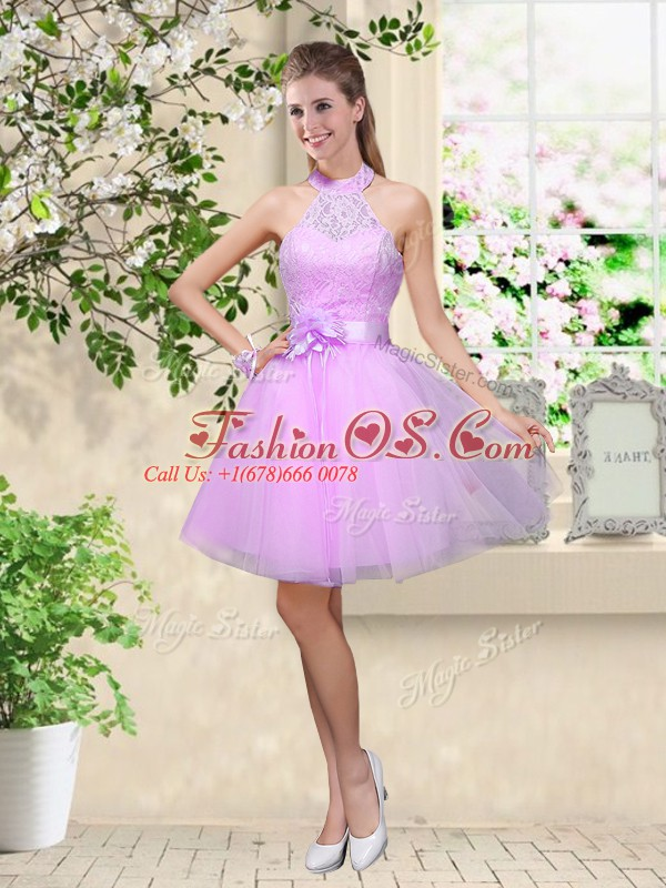 Superior Tulle Halter Top Sleeveless Lace Up Lace and Belt Wedding Guest Dresses in Lavender