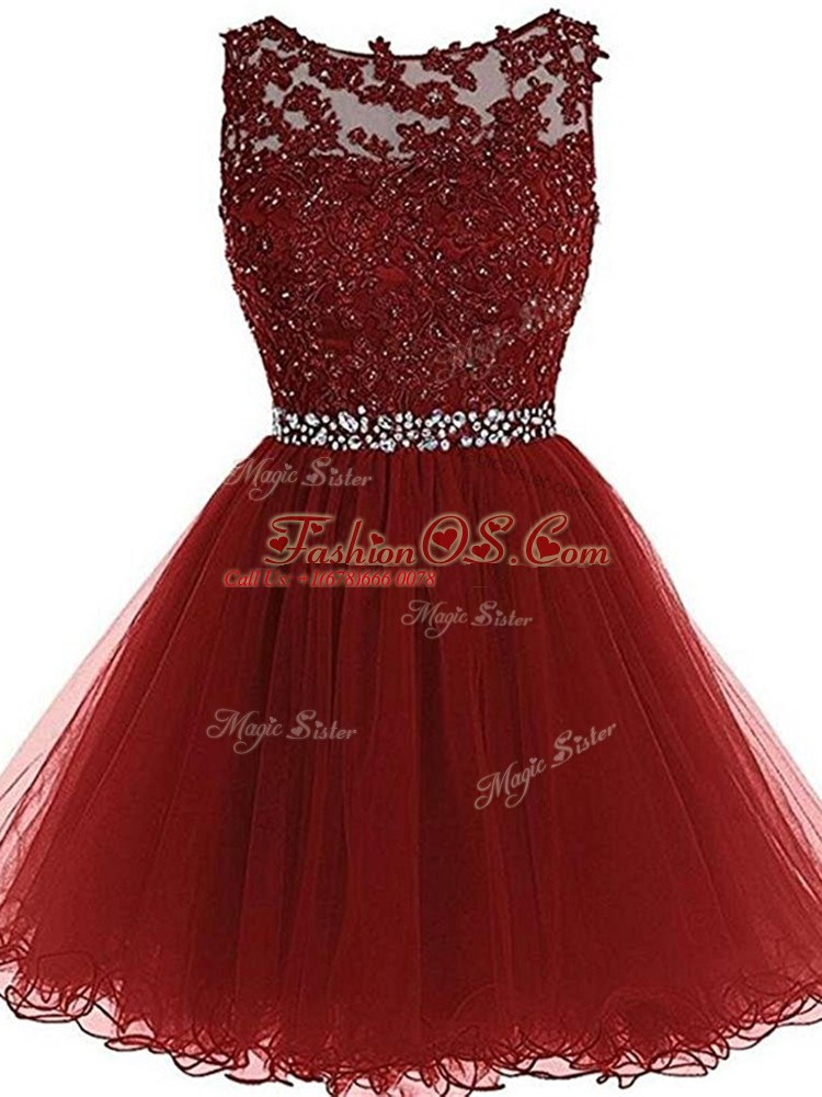 Modern Burgundy A-line Tulle Scoop Sleeveless Beading and Lace and Appliques Mini Length Zipper Prom Evening Gown