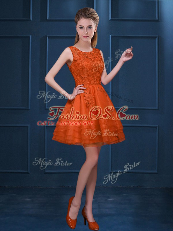 Orange Red Sleeveless Lace and Ruffled Layers Knee Length Wedding Party Dress