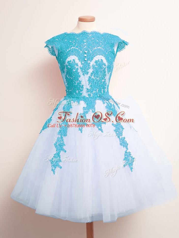 Blue And White Lace Up Scalloped Appliques Vestidos de Damas Tulle Sleeveless