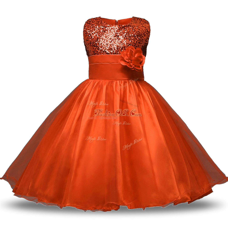 Orange Red Sleeveless Knee Length Bowknot and Belt and Hand Made Flower Zipper Flower Girl Dresses for Less