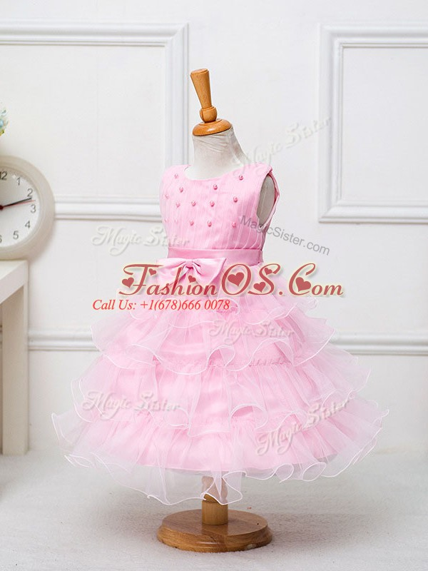 Superior Ball Gowns Kids Pageant Dress Baby Pink Scoop Organza Sleeveless Tea Length Zipper