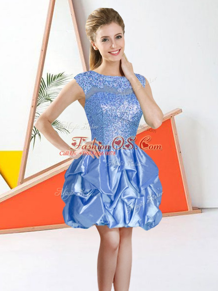 Glittering Sleeveless Backless Knee Length Beading and Lace and Ruffles Damas Dress