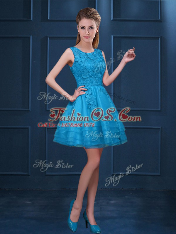 Beauteous Knee Length Baby Blue Bridesmaid Dress Tulle Sleeveless Lace and Ruffled Layers