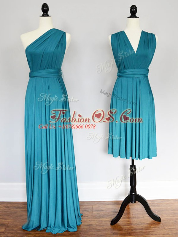 Teal Sleeveless Floor Length Ruching Lace Up Wedding Party Dress