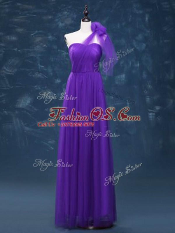 Most Popular Lavender Empire Ruching Vestidos de Damas Lace Up Tulle Sleeveless Floor Length