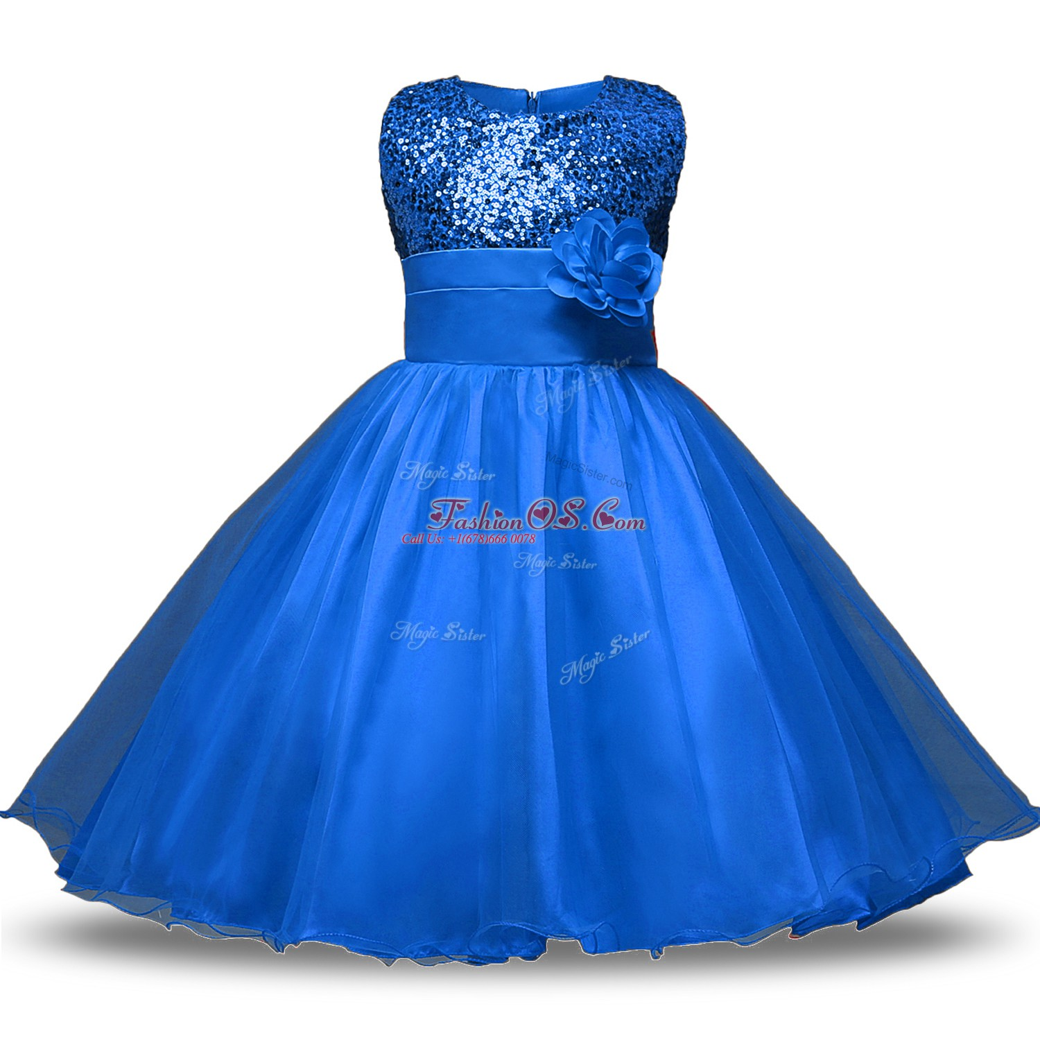 Blue Sleeveless Knee Length Bowknot and Belt and Hand Made Flower Zipper Flower Girl Dresses