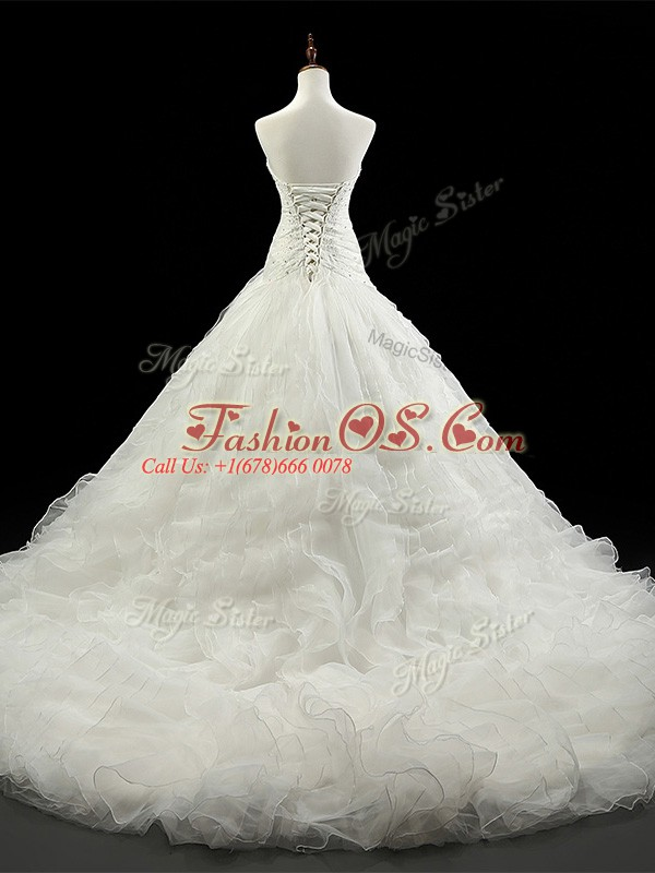 Organza Sweetheart Sleeveless Court Train Lace Up Beading and Ruffles Wedding Gowns in White