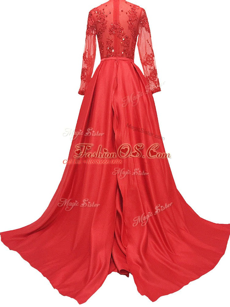 Zipper Mother Of The Bride Dress Red for Prom and Party and Military Ball and Sweet 16 with Lace and Appliques Brush Train