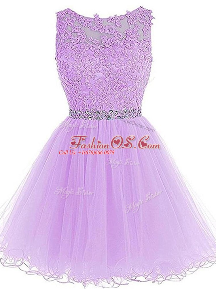 Fashion Lavender Scoop Zipper Beading and Lace and Appliques Prom Party Dress Sleeveless